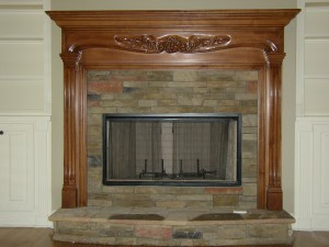 brick and wood fireplaces